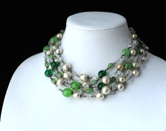 Vintage Green Art Glass and Baroque Pearl Necklace, 5 Strand, Green, Faux Pearls, Faceted Clear Crystal Beads, Multi Strand, KC167