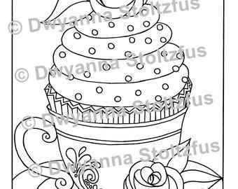 Teacup Cupcake Coloring Page JPG