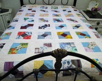 Vintage Handmade Multi-Colored Quilt