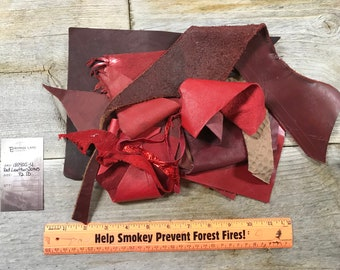 Red Color Salvaged Leather Scraps - Buckskin Leather Pieces - 1/2 Pound - Lot No. 180405-U