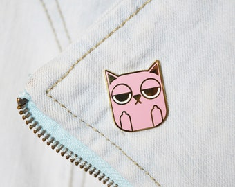 Sass Cat: Pink | hard enamel pin, pink cat pin, cat lovers