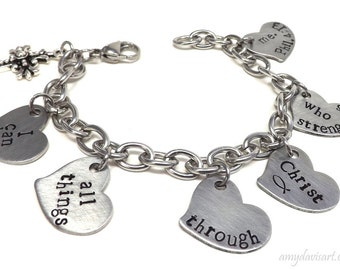 Christian Charm Bracelet, Scripture Jewelry, Bible Verse Bracelet, Christian Jewelry, Hand Stamped Bracelet, Heart Charms Bracelet