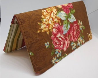Brown Roses Floral Fabric Print Checkbook Cover Coupon Holder Clutch Purse Billfold Ready-Made