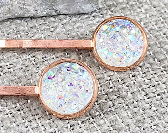 Crystal Clear Druzy Bobby Pins - Hair Accessories - Druzy Jewelry - Hair Clips - Wedding Hair Pins - Fancy Bobby Pins - Bridal Hair Pins
