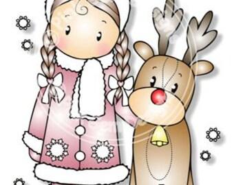 Digital (Digi) Chloe with Reindeer Stamp. Makes Cute Christmas Cards