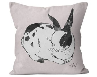 Sleeping Bunny Rabbit #3 Cotton Twill Pillow for baby girl - nursery decor collection, kids gift