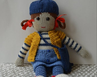 handmade doll, knitted doll,