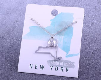 Customizable! State of Mine: New York Soccer Silver Necklace - Great Soccer Gift!