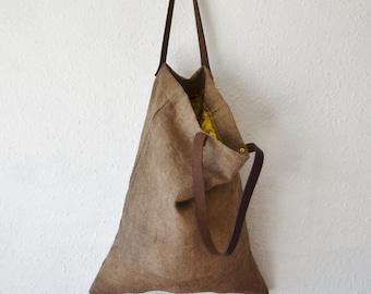 Linen tote bag plant dyed sustainable shopper holistic brown yoga Pilates veg tan boho travel beach bohemian ethical purse mens womens eco