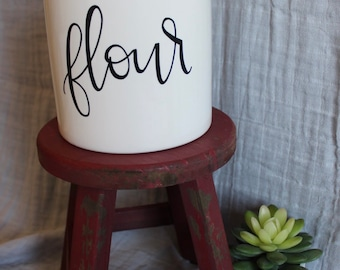 Sugar and Flour Ceramic Kitchen Jars/Canisters, White