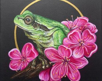 Frog and Cherry Blossom Original Painting