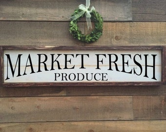 Market fresh produce sign, framed shiplap, home decor