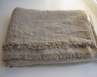 Bed Cover.Raw Linen Blanket. Bed spread. Beach blanket.Rustic Throw.Natural Bed Cover. Linen Bedding