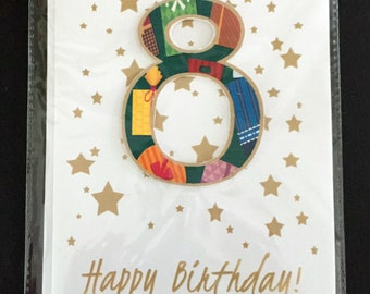 8th birthday card, age 8, XL birthday card, star confetti, number card, number birthday, 3D number, gold and white, stars, half page card