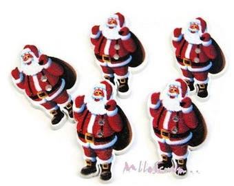Set of 5 buttons decorated wood Father Christmas scrapbooking embellishment *.