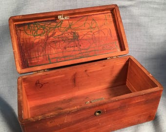 Vintage Lane Cedar Chest Larson Furniture Wood Trinket Box Jewelry Trunk