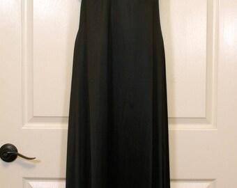 Sheer Cutout Yoke Long Black Vanity Fair Peignoir
