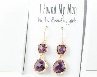 Long Amethyst Gold Earrings, Gold Amethyst Earrings, February Birthstone Gold Earrings, Bridesmaid Jewelry, Purple Wedding Jewelry