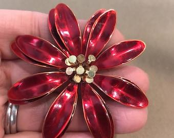 Vintage metallic flower poinsettia brooch