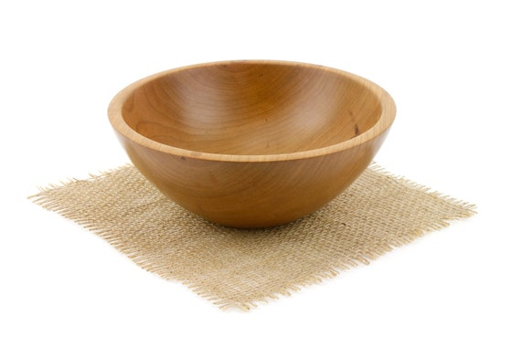 "Small 7 1/2"" Wooden Cherry Bowl / Candy Dish/ Serving Bowl/Popcorn Bowl"