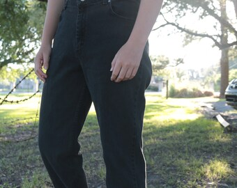 Vintage High Waisted Black Hipster Indie Grunge Mom Jeans Rider Size 14