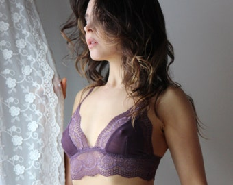 lace bralette with sheer mesh triangle cups - womens lingerie range - ROMANTIC - made to order