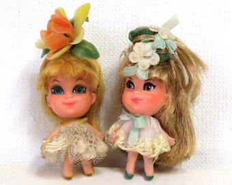 Mattel Liddle Kiddle Kologne Flower Dolls/Set of 2/ Honeysuckle and Friend