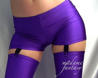 Purple spandex shorts hot pants with suspenders