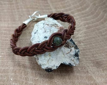 Leather Bracelet with Dragons Blood Jasper
