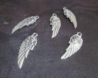 10 charms wings and Pink Silver 30 mm x 11 mm