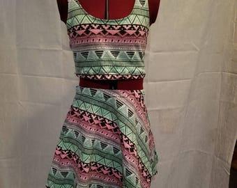 2-piece Boho Design Ombre Dress