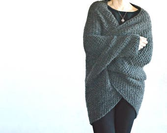 Grey long cocoon cardigan with kimono sleeves · exclusive oversized sweater hand knitted of wool & alpaca · cozy fall fashion · gift for her