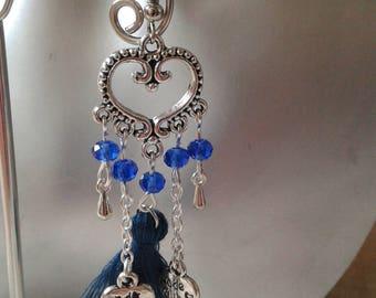 "Earrings ""blue tassel and heart"""