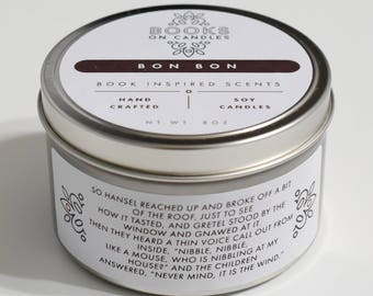 Bon Bon - Bookish Handmade Soy Candle inspired by Grimm Brothers Tale Hansel and Gretel. Chocolate scented book candle. Book Lovers Gift