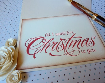 Christmas Love Card, All I Want for Christmas Is You, Holiday Notecard, Vintage Inspired