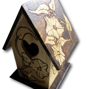 Floral Birdhouse, Pyrography Indoors or Out