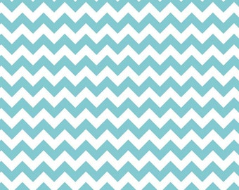Aqua Chevron Cotton Fabric by Riley Blake Designs - Turquoise Zig Zag RBD Cotton Basics - Blue and White Quilting Sewing