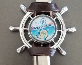 Rock by the Sea brown leather snap Ships Wheel bracelet