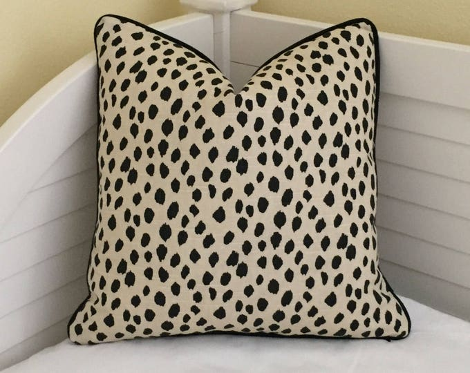 Lacefield Designs Dodie Animal Print Designer Pillow Cover with Piping, Square, Lumbar and Euro Pillow Cover Sizes