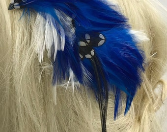 Shades  of Blue with White Feather Hair Clip, Blue Feather Barrette, Blue Feather Fascinator