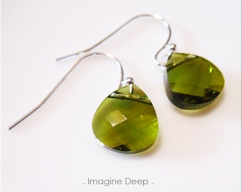 Olive Green Crystal Earrings Avocado Army Moss Green Swarovski Crystals Briolette Teardrop Pear Dangle Sterling Silver or Plated % SPECIAL