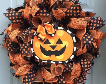 Halloween Pumpkin Deco Mesh Wreath, Pumpkin Wreath, Orange and Black Wreath