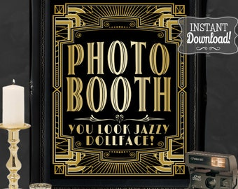 Gatsby Photo Booth Poster - INSTANT DOWNLOAD - Printable Wedding & Birthday Party Art Deco 1920s Sign - 3 sizes included - Sassaby Posters