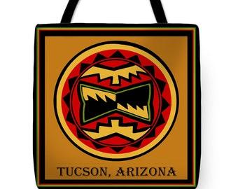 Tucson Arizona Tribal Southwest Tote Bag Gift - Decorative Tribal Throw Pillow Gift - Southwest Arizona Design Bag - Southwest Pillow Gift