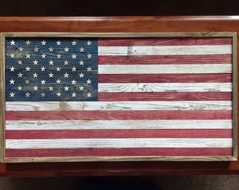 Rustic American Flag with military emblem