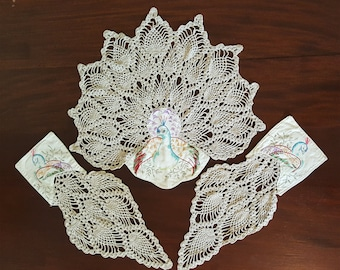 Peacock Pineapple Armchair Doilies Set Chair Crochet and Embroidery Doily Vintage