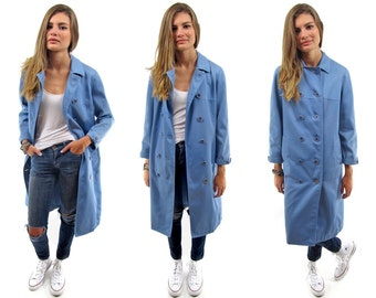 Vintage 60s Trench Coat, Double-Breasted Trench, Midi Rain Coat, Blue Sky Coat Δ fits sizes: xs / sm / md