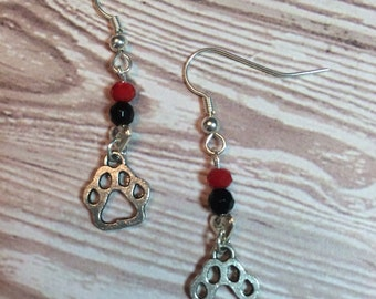 Red & Black paw earrings