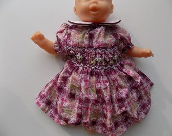 Doll clothing, smocked dress, cotton, Peter Pan collar dress, embroidered dress hand smocked by hand, Corolle doll, 28 cm, 36 cm