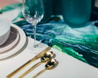 Emerald   Table Runner   Watercolor handpainted gemstones printed on Linen Cotton   Tabletop   Gather